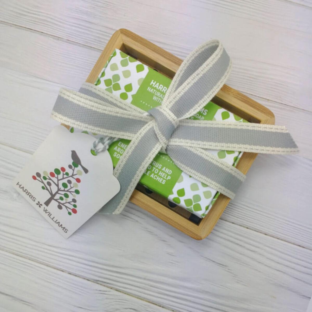 Bamboo Soap Dish Gift Set
